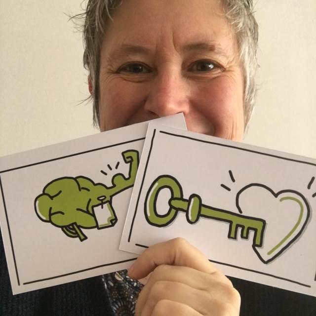 Susanne Kitlinski - open sustain - social Business - mit Sketchnotes in der Hand - Claim Visualisierung als Türöffner